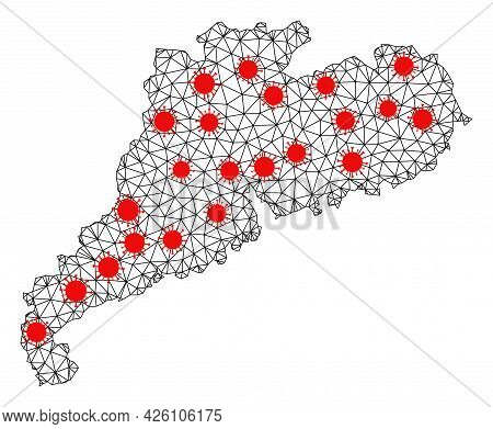 Wire Frame Polygonal Map Of Guangdong Province Under Infection. Vector Structure Is Created From Map