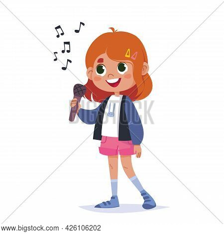 Cute Baby Girl Holding A Microphone And Singing A Song. Singer Cartoon Girl Schoolgirl. Girl Teenage