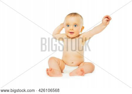 Baby Girl In Diaper Isolated On White Lift Hands