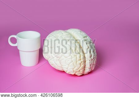 Caffeine Effect Concept Brain And Coffee Cup