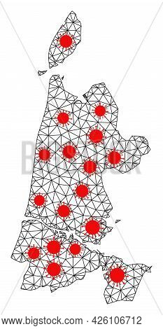 Mesh Polygonal Map Of North Holland Under Infection. Vector Structure Is Created From Map Of North H