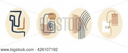 Minimalistic Aesthetic Collage. A Set Of Abstract Posters And An Oval Frame With Geometric Patterns,