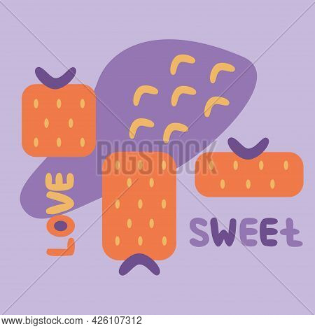 Abstract Memphis Style Poster With Geometric Shape Strawberry, Arcs, Sweet And Love Hand Drawn Lette