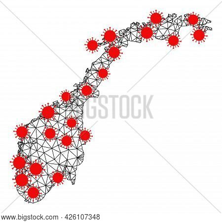 Mesh Polygonal Map Of Norway Under Lockdown. Vector Model Is Created From Map Of Norway With Red Inf