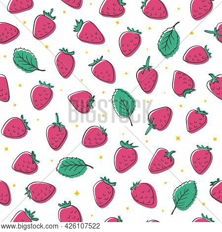 Hand Drawn Creative Strawberry Seamless Vector Pattern. Pink Berries And Green Leaves With Black Doo