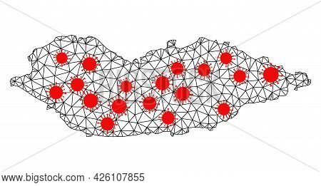 Wire Frame Polygonal Map Of Socotra Island Under Infection. Vector Model Is Created From Map Of Soco