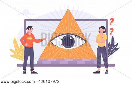 Concept Of Conspiracy Theory. Sacred Masonic Symbol. A Thoughtful Woman And A Man Look At The Eye In