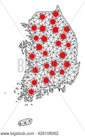Wire Frame Polygonal Map Of South Korea Under Infection. Vector Structure Is Created From Map Of Sou