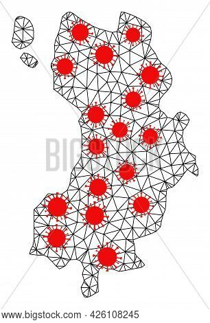 Wire Frame Polygonal Map Of Ko Tao Under Lockdown. Vector Structure Is Created From Map Of Ko Tao Wi