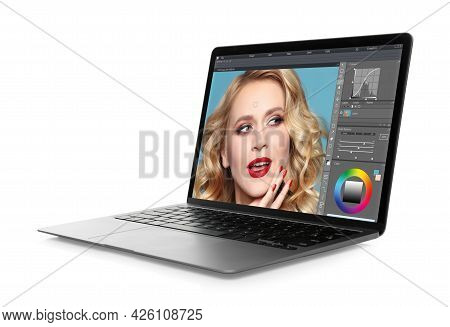 Laptop With Photo Editor Application Isolated On White