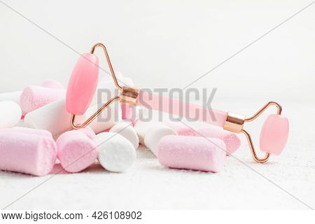 Quartz Roller And Marshmallow. Skin Care. Facial Massage. Cosmetology. Spa