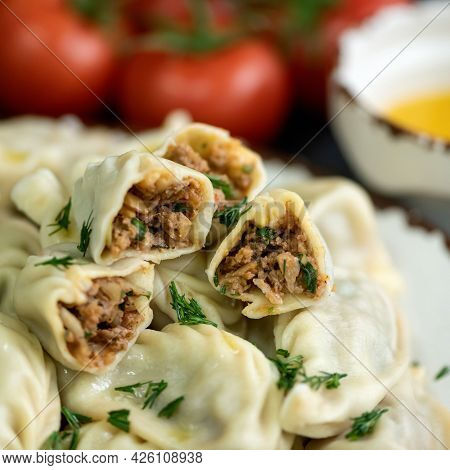 Boiled Dumplings Stuffed With Minced Meat. Cooked Dumplings Cross Section. Convenience Food. Square