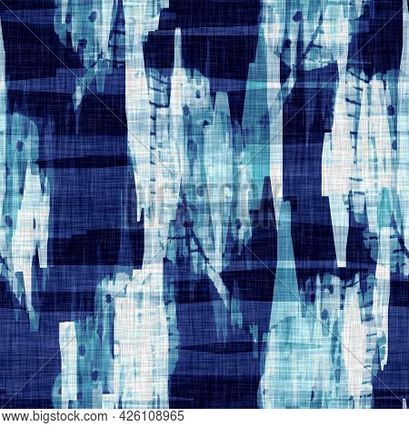 Mottled Cyanotype Blue White Linen Texture. Faux Photographic Tie Dye Sun Print Effect For Trendy Ou