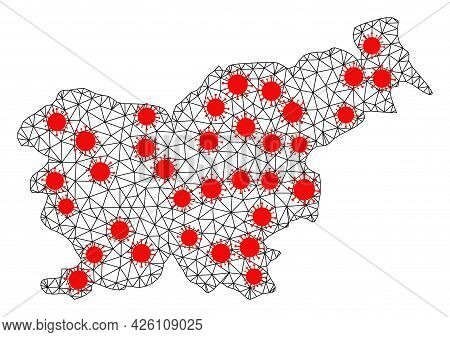 Network Polygonal Map Of Slovenia Under Infection. Vector Structure Is Created From Map Of Slovenia