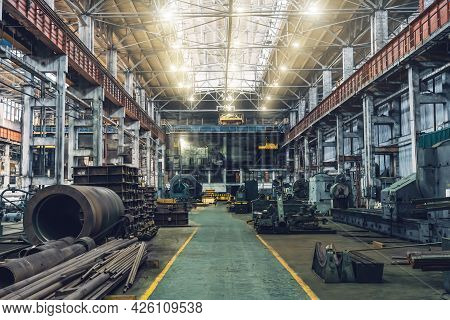 Metalwork Factory With Machines, Lathes And Steel Pipes For Processing Metal Production, Industrial