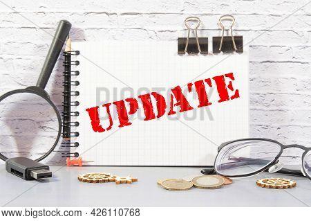 Update Update Sticker With Marketing Plan Inscription Over Computer Keyboard.