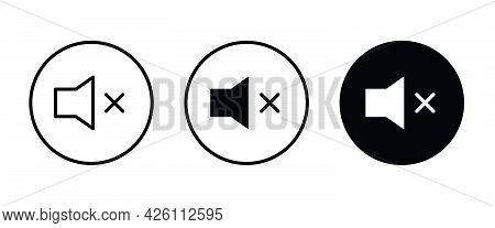 No Volume , Mute , No Sound Icon Vector, Sign, Symbol, Logo, Illustration, Editable Stroke, Flat Des