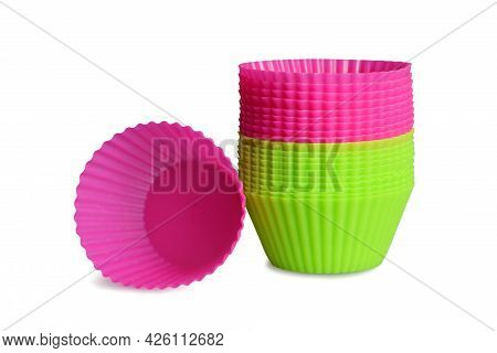 Silicone Muffin Baking Cups Isolated On White Background. Reusable Cupcake Liners