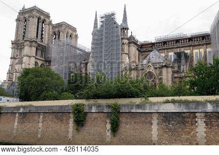 Paris, France. June 27. 2021. View Of The Cathedral Of Notre Dame De Paris, Historical Monument Unde
