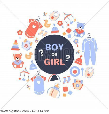 Gender Reveal Party. Flat Black Balloon With Text Boy Or Girl On White Baby Background With Toy Newb