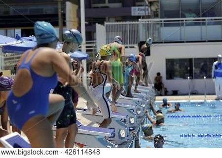 Swimmer In A Water Pool