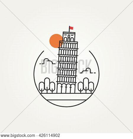 Pisa Tower Outline Minimalist Line Art Icon Logo Template Vector Illustration Design. Simple Modern