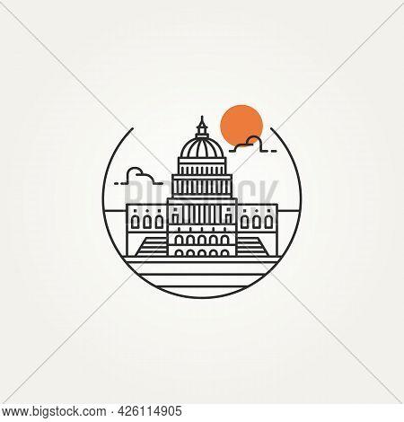 Washington Capitol Building Outline Minimalist Line Art Icon Logo Template Vector Illustration Desig