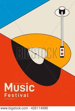 Music Poster Design Template Background With Isometric Vinyl Record. Design Element Template Can Be
