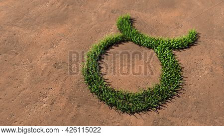 Concept conceptual green summer lawn grass symbol shape on brown soil or earth background, taurus zodiac sign. 3d illustration symbol for esoteric, mystic, the power of prediction of astrology