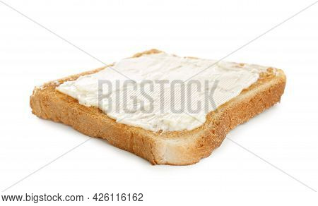 Delicious Toast With Butter Isolated On White