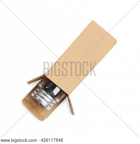 Jar With Roll Of Natural Dental Floss In Box On White Background, Top View