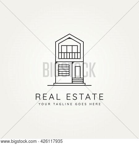 Real Estate Residential Minimalist Line Art Icon Logo Template Vector Illustration Design. Simple Mo
