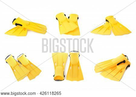 Set With Yellow Flippers On White Background