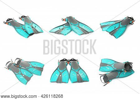 Set With Turquoise Flippers On White Background