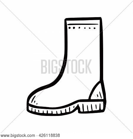 Hand Drawn Garden Boot. Doodle Sketch Style. Drawing Line Simple Boot Icon. Isolated Vector Illustra