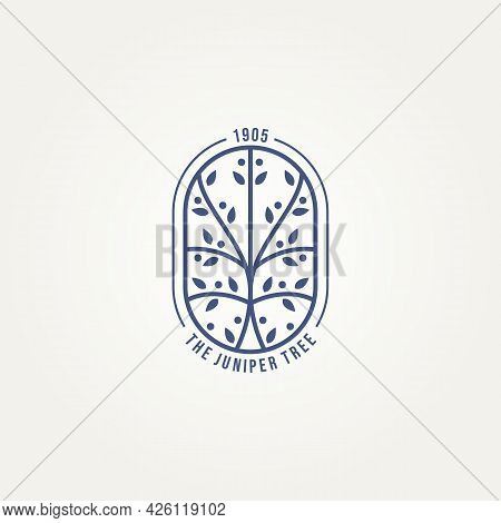 Juniper Tree Minimalist Badge Line Art Icon Logo Template Vector Illustration Design. Simple Modern