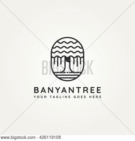 Banyan Tree Minimalist Line Art Icon Logo Badge Template Vector Illustration Design. Simple Minimali