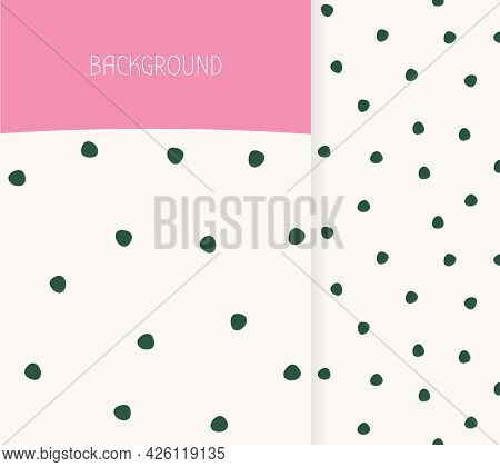 Cover Template. Abstract Hand Drawn Seamless Pattern Polka Dots. Textured Doodle Circles Limitless B