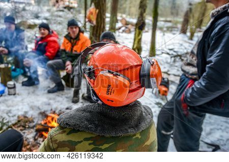Belarus - 02.02.2015 - A Team Of Lumberjacks Is Resting At Lunchtime In A Clearing In A Winter Fores