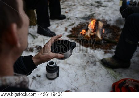 Belarus - 02.02.2015 - Scrambled Eggs In The Frying Pan In The Winter Forest, Lumberjacks Lunch.