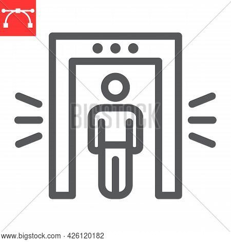 Metal Detector Line Icon, Security And Airport, Security Control Vector Icon, Vector Graphics, Edita