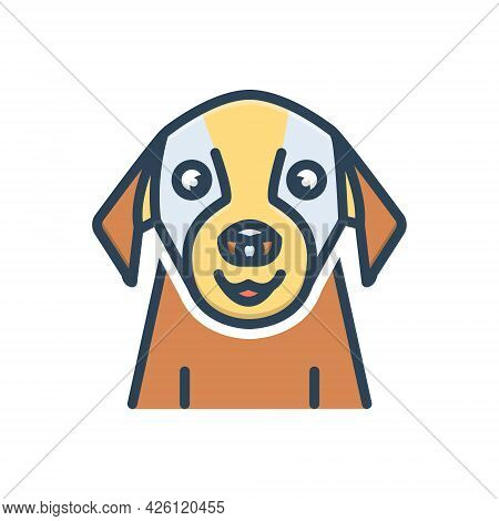 Color Illustration Icon For Pet Tame Domestic Home-animal Dog Faithful Animal