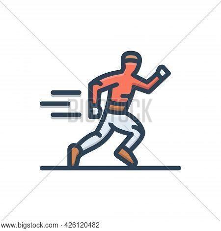 Color Illustration Icon For Running Race Man Runner Jogger Athletics Sports