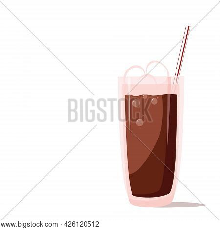 Delicious Cocoa Drink With Marshmallows In A High Glass With A Straw. Vector Cartoon Illustration On