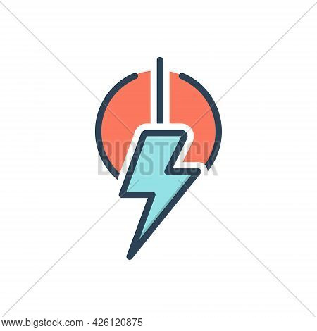 Color Illustration Icon For Power Energy Voltage Capacity Electricity Charge On Off