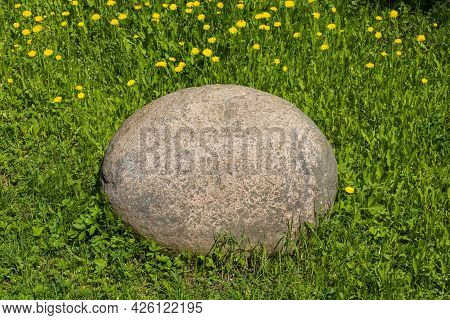 A Large Oval Stone On A Background Of Green Grass And Yellow Dandelions On A Sunny Day.