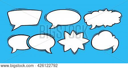 Speech Bubbles For Comments And Messages. Set Of Speech Boxes Isolated In Blue Background. Handdrawn