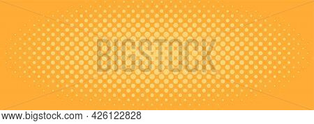 Halftone Background Pattern In Comic Style With Dots. Yellow Wallpaper With Radial Halftone. Vector