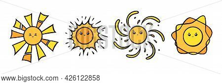 Kawaii Sun Characters With Eyes And Smiles. Yellow Sun Smiling Faces In Doodle Style. Black And Whit