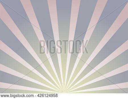Sunlight Horizontal Background. Pink And Violet Color Burst Background. Vector Illustration. Sun Bea